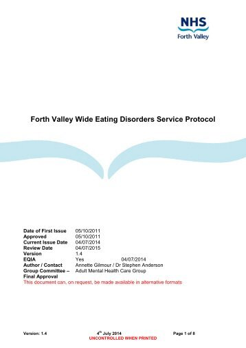 Eating Disorders Service Protocol - NHS Forth Valley