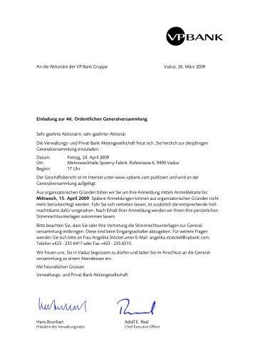 Hans Brunhart Adolf E. Real An die Aktionäre der VP Bank Gruppe ...