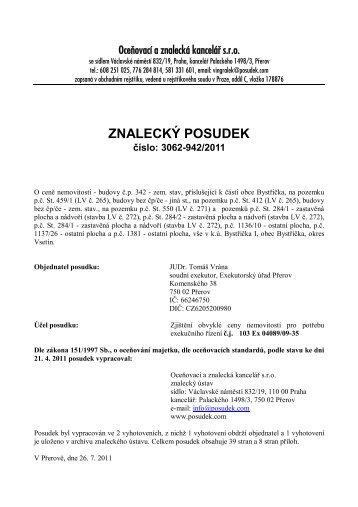 ZNALECKÝ POSUDEK číslo: 3062-942/2011 - e-aukce