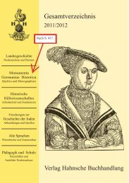 MONUMENTA GERMANIAE HISTORICA ... - Hahnsche Buchhandlung