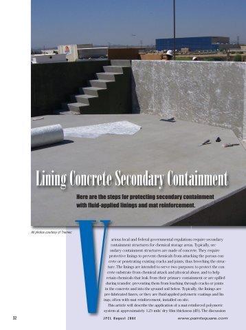 Lining Concrete Secondary Containment - PaintSquare