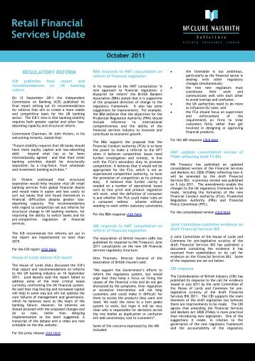 Retail Financial Services Update - October 2011 - McClure Naismith