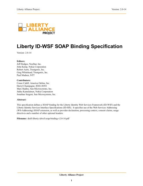 Liberty Id Wsf Soap Binding Specification Liberty Alliance