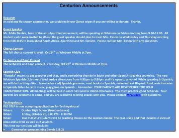 Centurion Announcements - Fayette's iSchool