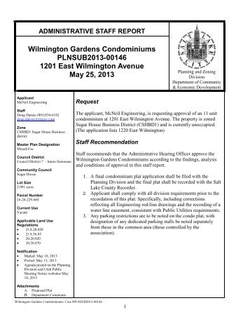 Salt Lake City Council Staff Report Slc Infobase