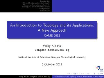 Topology and its applications. - NIE Mathematics & Mathematics ...
