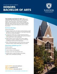 HONORS BACHELOR OF ARTS - Xavier University