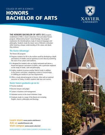 HONORS BACHELOR OF ARTS - Xavier University