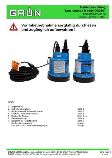 Betriebsanleitung Tauchpumpe Modell OD6601