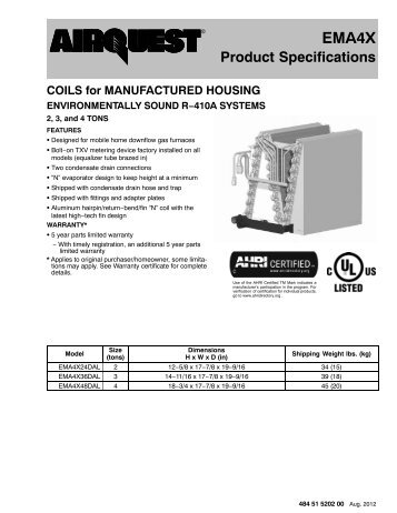 EMA4X Aluminum R-410A Evaporator Coil For Manufactured ...