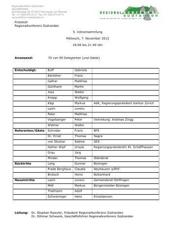 2 Protokoll der Vollversammlung vom 7. November 2012 - Plattform ...