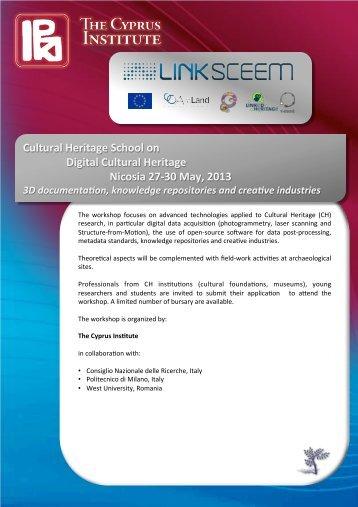 Cultural Heritage School on Digital Cultural Heritage ... - LinkSCEEM