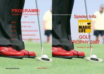 PROGRAMM: Spieler Info GOLF TROPHY 2007