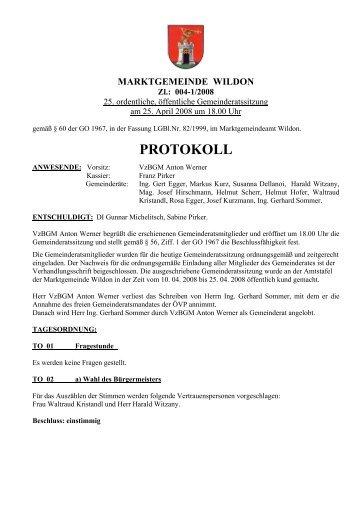 25. Gemeinderatssitzung - Marktgemeinde Wildon