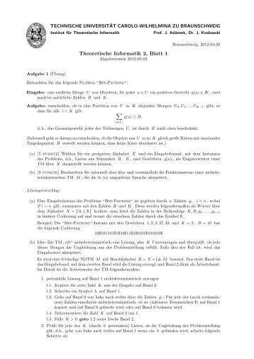 Theoretische Informatik 2, Blatt 1 - Institut für Theoretische Informatik