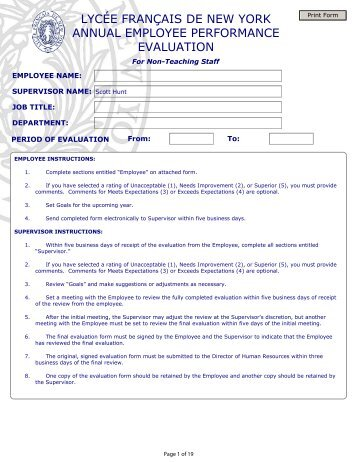 Francais Annual Performance Evaluation Form