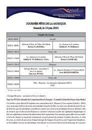 JOURNÉE FÊTE DE LA MUSIQUE Samedi, le 15 juin 2013