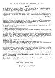 Edital de Resultado Prova de Seleção - 1º semestre 2012 - Emerj