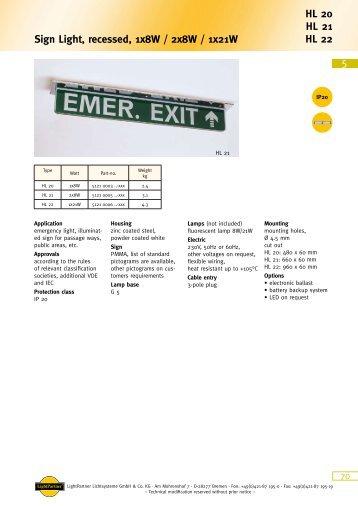 5 HL 20 HL 21 HL 22 Sign Light, recessed, 1x8W ... - LightPartner