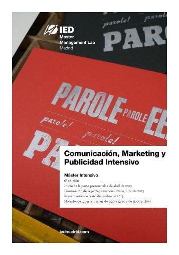 Comunicación, Marketing y Publicidad Intensivo - IED Madrid