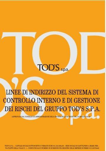 LINEE DI INDIRIZZO DEL SISTEMA DI CONTROLLO ... - Tod's