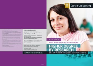 HDR Information Booklet - Health Sciences - Curtin University