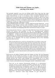 Edith Stein und Thomas von Aquin: 'meeting of the minds' *