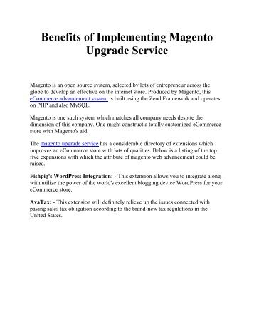 Benefits of Implementing Magento Upgrade Service