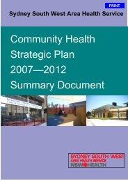 Community Health Strategic Plan 2007 - 2012 - Sydney South West ...
