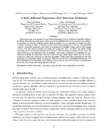 A Safe, Efficient Regression Test Selection Technique