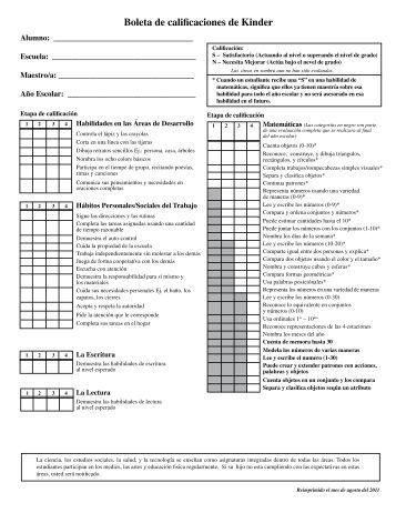 Boleta de calificaciones de Kinder - Henderson County Public Schools