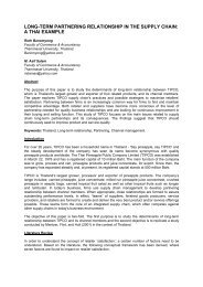 Long-term partnering relationship in the supply chain, Proceedings of