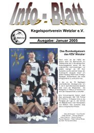 Kegelsportverein Wetzlar e.V. Ausgabe: Januar 2005 - KSV Wetzlar