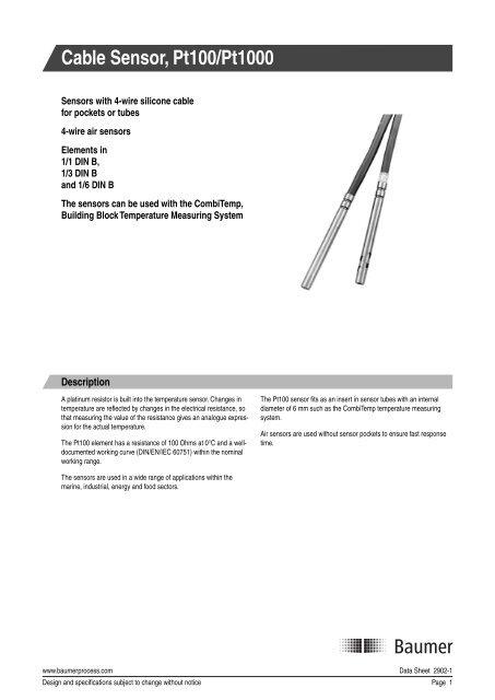 Cable Sensor, Pt100/Pt1000 - Baumer