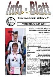 Kegelsportverein Wetzlar e.V. Ausgabe: August 2005 - KSV Wetzlar