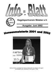 Kegelsportverein Wetzlar e.V. Ausgabe: Juni 2002  - KSV Wetzlar