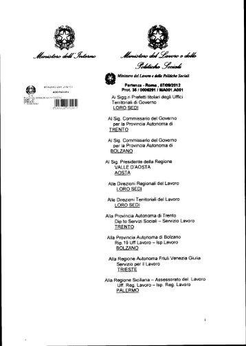 Circolare congiunta Interno-Lavoro - Ministero Dell'Interno