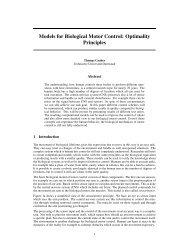 Models for Biological Motor Control: Optimality Principles
