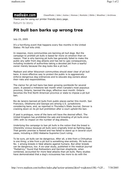 Pit bull ban barks up wrong tree - Understand-A-Bull