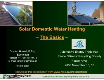 Solar Domestic Water Heating - Howell-Mayhew Engineering