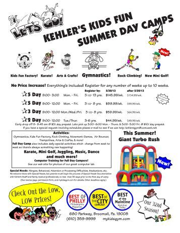 kehler's kids fun summer day camps - Kehler's Gymnastics Center