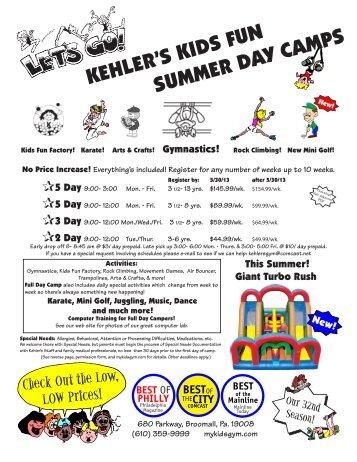 kehler's kids fun summer day camps - Kehler's Gymnastics Center