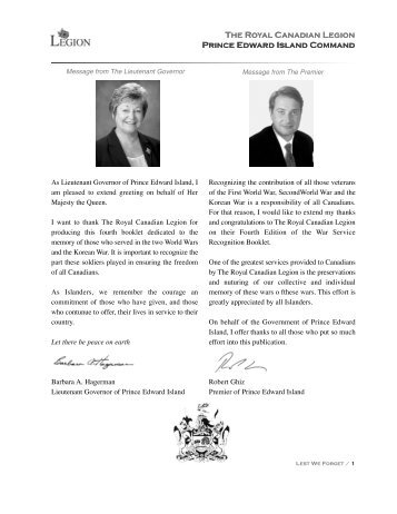 The Royal Canadian Legion Prince Edward Island Command The ...