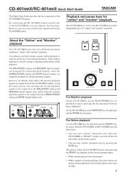 CD-601mkII Owner's Manuals Quick Start Guide - Tascam