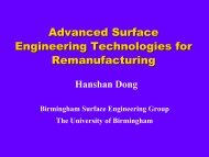 Advanced Surface Engineering Technologies for Remanufacturing