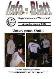 Kegelsportverein Wetzlar e.V. Ausgabe: Januar 2004 - KSV Wetzlar