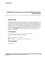 (M-MALM) Installation Instruction Sheet - Christie Digital Systems