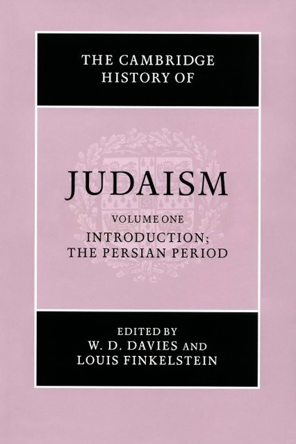 The Cambridge History Of Judaism Volume 1 Introduction