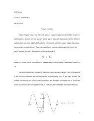 1 Erick Garcia Cluster 6: Mathematics July 30, 2010 ... - COSMOS