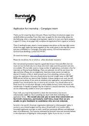 Application for internship – Campaigns intern - Survival International